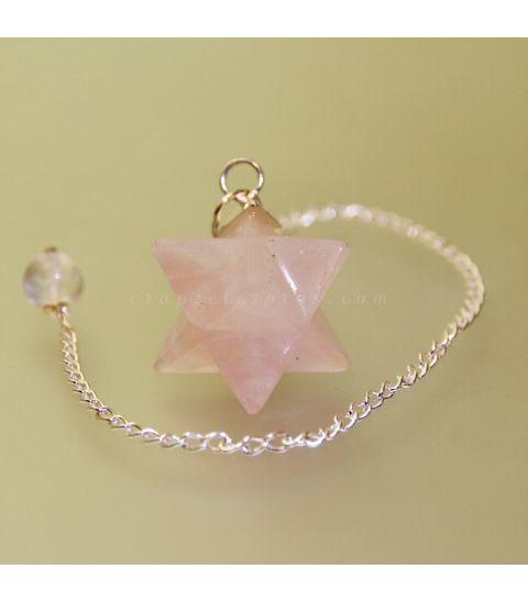 Cuarzo rosa tallado como Merkaba para péndulo de radiestesia