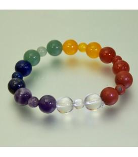 7 Chakras en pulsera elástica de esferas lisas