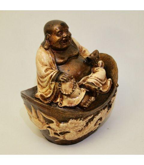Buda Hotei túnica blanca sobre altar de resina