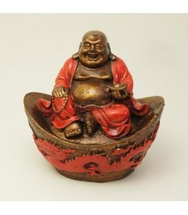 Buda Hotei túnica roja sobre altar de resina
