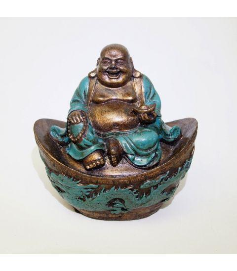 Buda Hotei túnica verde sobre altar de resina