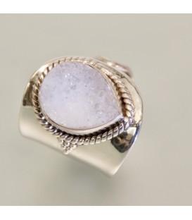 Ágata cristal en anillo de plata de ley ajustable