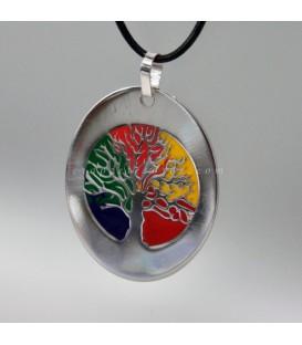 Árbol de la vida grabado y lacado cromático en colgante en plata de ley