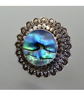 Sol de Haliotis en anillo de plata de ley