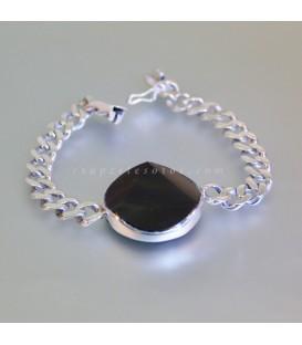Obsidiana facetada triangular en pulsera de plata de ley