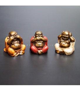 Los tres budas sabios Hotei de la fortuna
