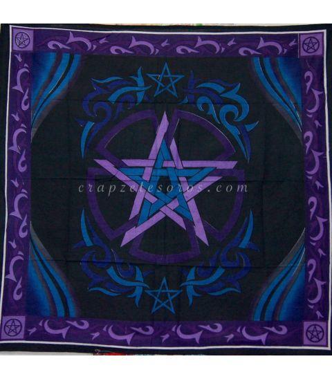 Pentagramatón en mantel de algodón para mesa o altar.