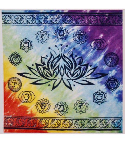 Flor Loto de Chakras en mantel de algodón para mesa o altar