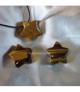 Estrella de Ojo de tigre en colgante perforado