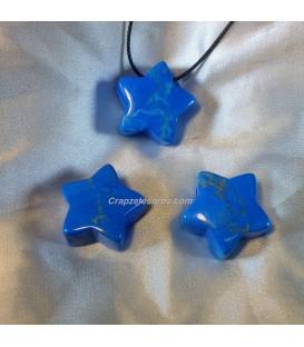 Howlita Azul en colgante de estrella con agujero