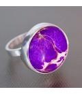 Magnesita lila en anillo de plata de ley ajustable