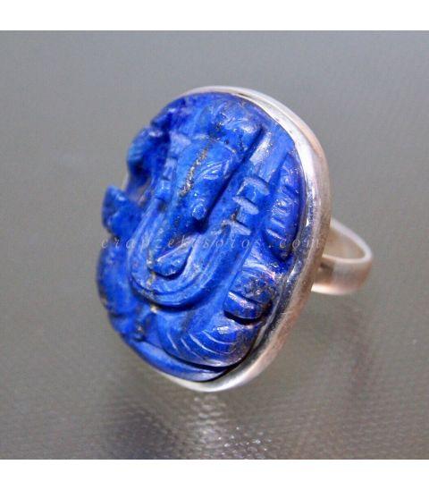 Ganesha tallada en Lapislázuli sobre anillo de plata de ley