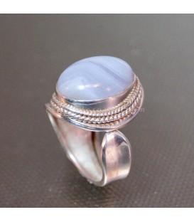 Bella Calcedonia azul natural de Brasil en anillo de plata de ley ajustable