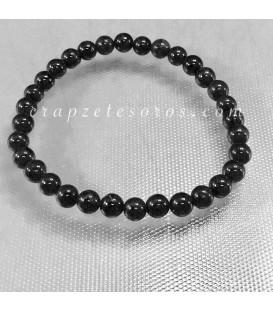 Turmalina negra en pulsera elástica de esferas de 6mm