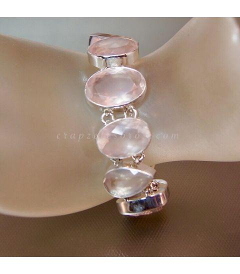 Cuarzos rosa facetados en pulsera de plata de ley