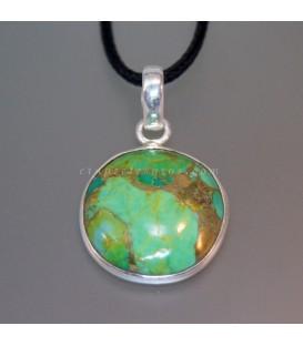 Magnesita verde con Pirita en colgante de plata de ley