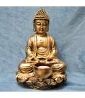 Buda meditación con vela en resina dorada