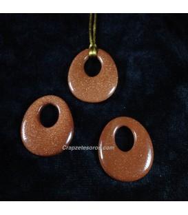 Colgante disco oval Aventurina dorada