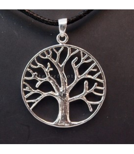 Árbol de la vida en colgante circular de plata de ley