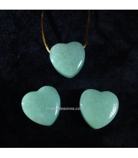Aventurina verde talla corazon en colgante