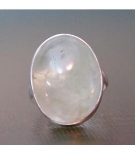 Prehnita natural de Mali en anillo de plata de ley ajustable