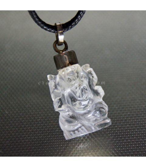 Buda Ganesha tallada en Cuarzo y colgante de plata de ley