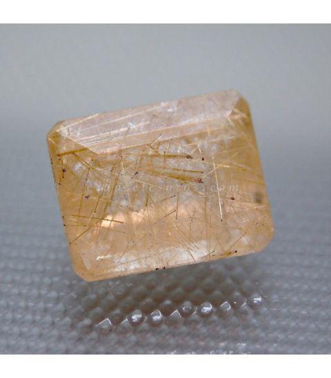 Cuarzo con Rutilo oro gema talla esmeralda tradicional