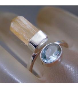 Topacio imperial y Aguamarina de Brasil en anillo exclusivo de plata de ley