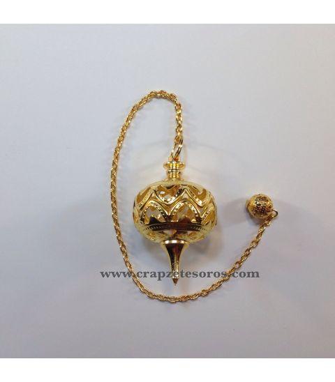 Péndulo de metal dorado y hueco para Radiestesia