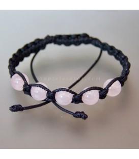 Cuarzo rosa esferas en pulsera de macramé ajustable