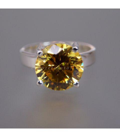 Circonita amarilla calidad suprema AAAAA en anillo de plata de ley