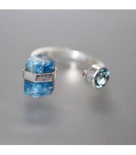 Aguamarinas en anillo de plata de ley ajustable