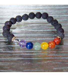 Lava y gemas chakras en pulsera elástica de esferas 8mm