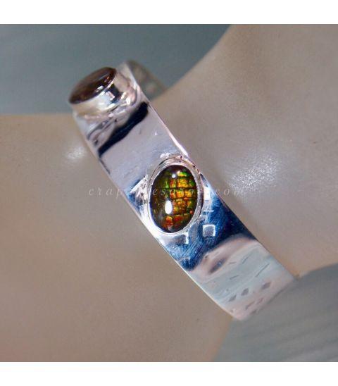 Luminosas Ammolitas en pulsera exclusiva de plata de ley