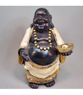Buda Hotei de la felicidad de resina cubierto con nácar