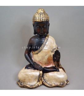Buda de la paz de resina cubierto con nácar