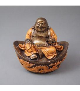 Buda Hotei en base Dragón naranja