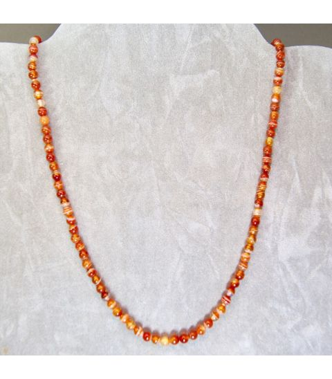Carneolas talla esferitas en collar con cierres de plata de ley