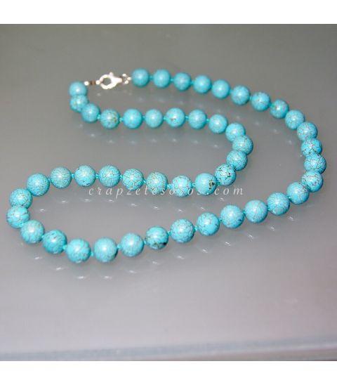 Turquenitas talla esferas en collar con cierres de plata de ley