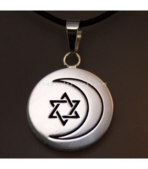 Estrella de David y Luna grabados en colgante de plata de ley