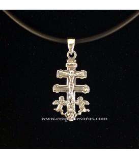 Cruz de Caravaca en colgante de plata de ley