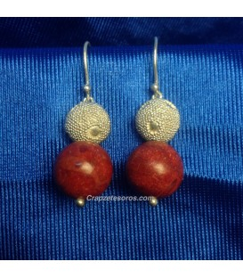 Pendientes Coral Manzana y plata