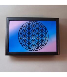 Flor de la vida de cristal sobre caja de madera oscura