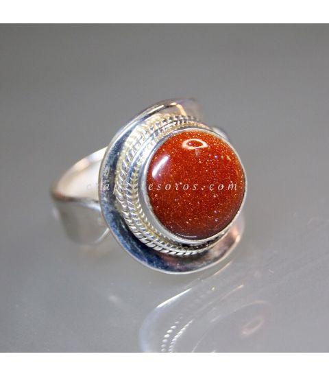 Aventurina dorada en anillo de plata de ley