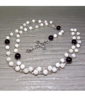 Nácar talla esferas en rosario y metal