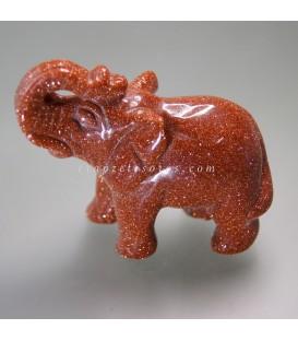 Aventurina Oro tallada a mano en forma de elefante
