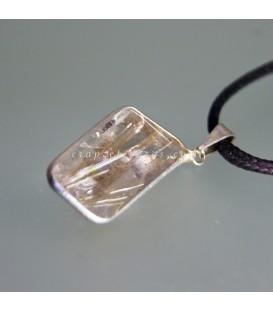 Cuarzo hematoide con Rutilo en colgante de plata de ley