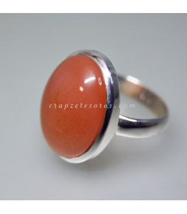 Carneola o Cornalina en anillo de plata de ley