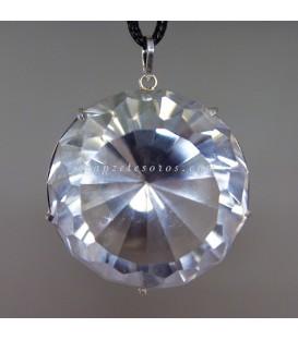 Impresionante Cuarzo diamantino en colgante de plata de ley