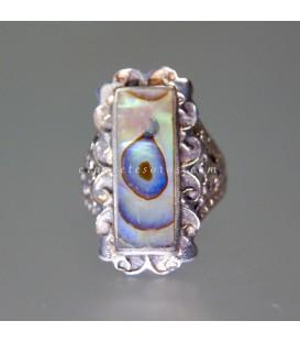Haliotis ojo del Pacífico en anillo de plata de ley
